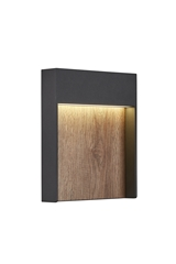 FLATT, Outdoor LED surface-mounted wall light 3000K IP65 anthracite/brown