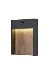 FLATT SENSOR, Outdoor LED surface-mounted wall light, 3000K, IP65, anthracite/brown