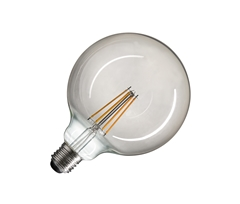 LED lamp, G125, E27, 2700K, 440lm, 280°, dimmable, smoked glass