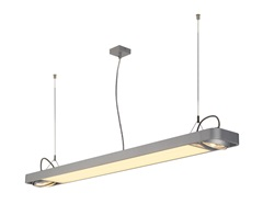AIXLIGHT R2 OFFICE LED LONG,visilica, srebrna-siva, LED +2xQPAR111, max. 75W, 153cm